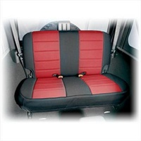 Neoprene Rear Seat Cover, Black & Red, 07-13 Jeep Wrangler (JK)